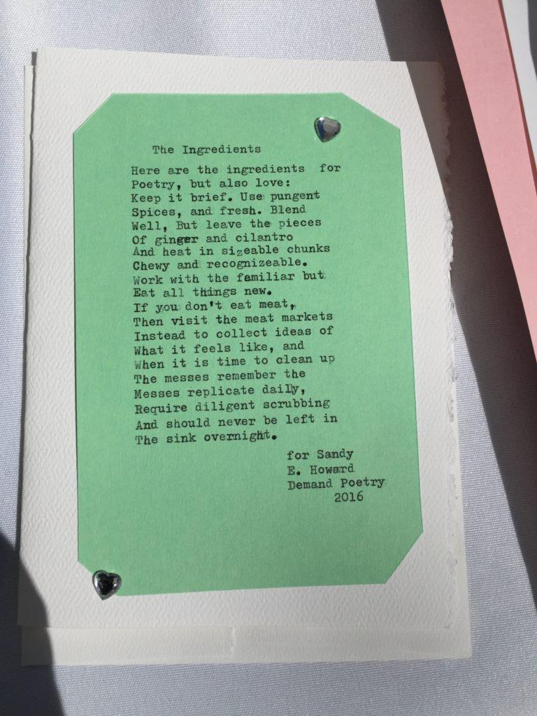 Demand Poetry Elizabeth Howard