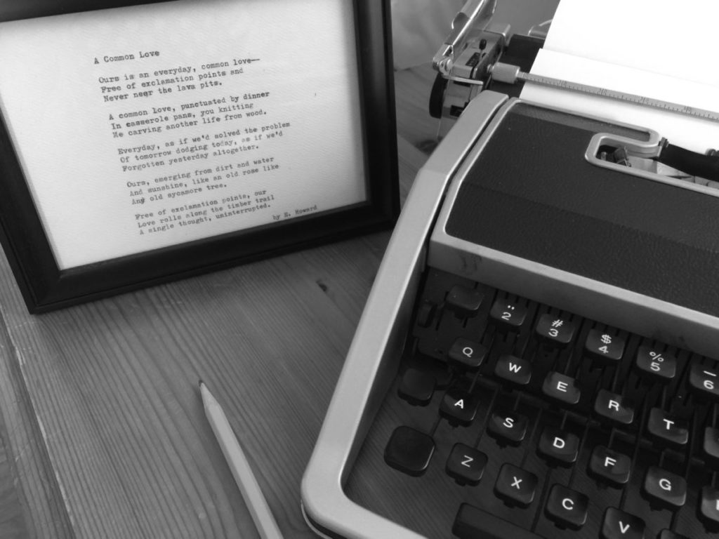 Original custom poetry written for mothers day wife vows Demand Poetry Elizabeth Howard typewriter